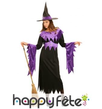 Déguisement noir et violet de sorcière pour adulte