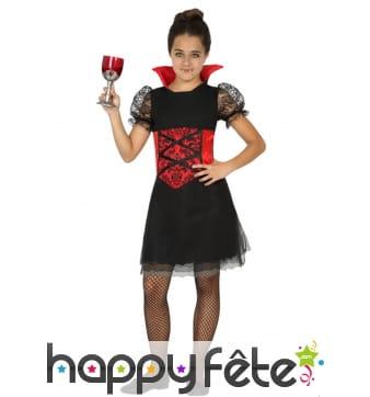 Déguisement noire et rouge de vampiresse enfant