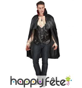 Déguisement noir satiné de vampire avec cape