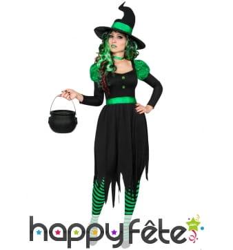 Déguisement noir vert de sorcière adulte