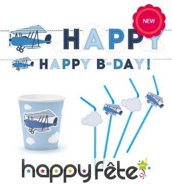 Décoration petit avion bleu pour anniversaire