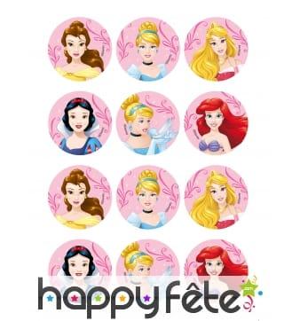 Déco pour biscuits Princesses Disney de 8 cm