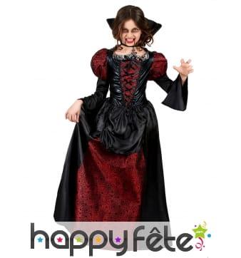 Déguisement petite comtesse vampire rouge et noir
