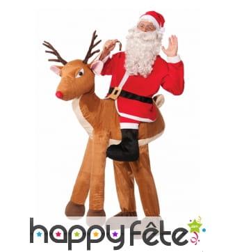 Déguisement père Noël à dos de renne