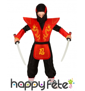 Déguisement petit ninja rouge avec larges épaules