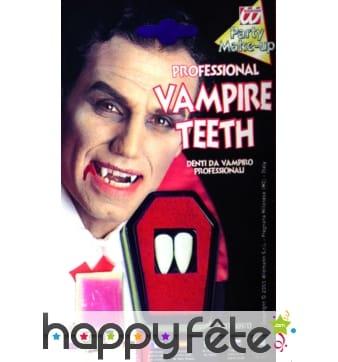 Dents pour vampire avec fixateur adhésif