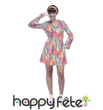 Déguisement robe à motifs flashy années 60