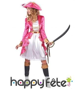 Déguisement robe blanche et rose baroque de pirate