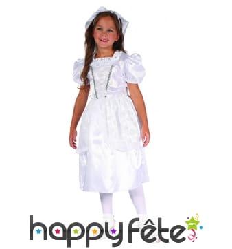 Déguisement robe blanche satinée de petite mariée