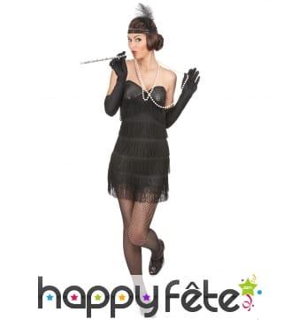 Déguisement robe charleston noire sexy à franges