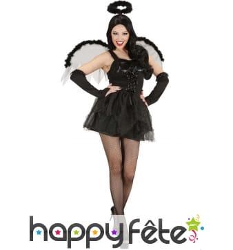 Déguisement robe courte ailée d'ange noir