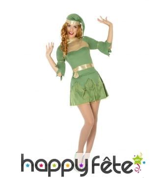 Déguisement robe courte de femme elfe