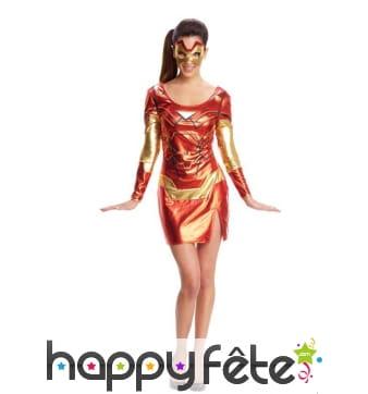 Déguisement robe courte de Iron man pour femme