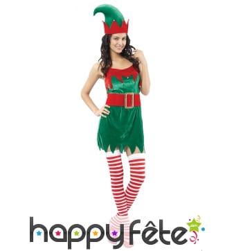 Déguisement robe courte de lutin de Noël