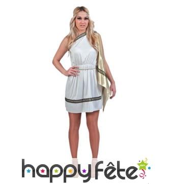 Déguisement robe courte de sénatrice romaine