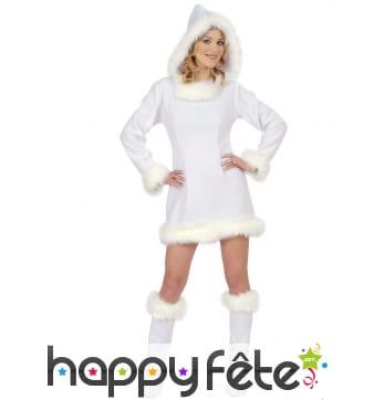 Déguisement robe courte esquimau blanc