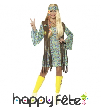 Déguisement robe courte hippie motifs années 80