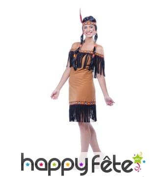 Déguisement robe courte marron d'indienne
