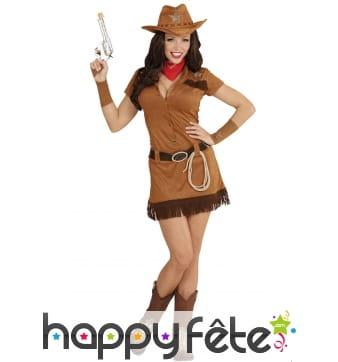 Déguisement robe courte marron de cowgirl
