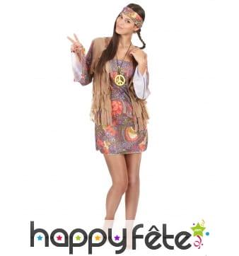 Déguisement robe courte petits motifs hippies