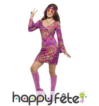 Déguisement robe courte Woodstock de Hippie