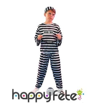 Déguisement rayé de prisonnier pour enfant