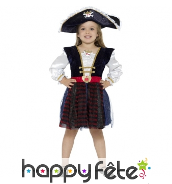 Déguisement robe de capitaine pirate pour fillette