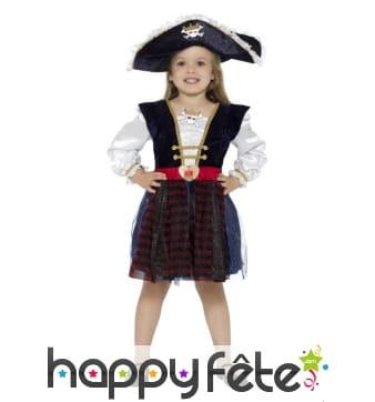 Déguisement robe de capitaine pirate pour fillette