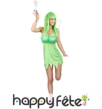Déguisement robe de fée verte pour femme