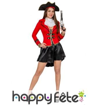 Déguisement robe de femme pirate noir rouge