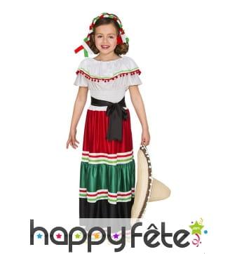 Déguisement robe de petite mexicaine