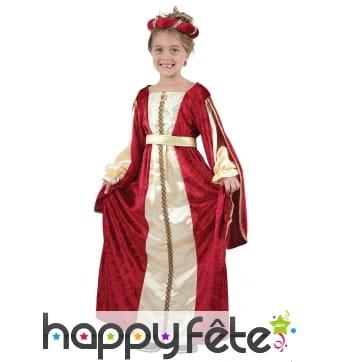 Déguisement robe de petite reine médiévale rouge