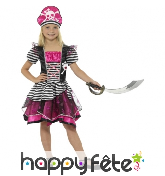 Déguisement robe de piratesse girly pour enfant