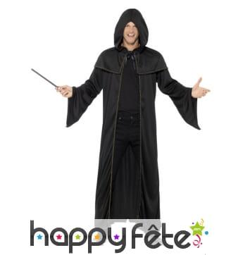 Déguisement robe de sorcier noir pour adulte