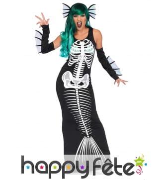Déguisement robe de squelette sirène