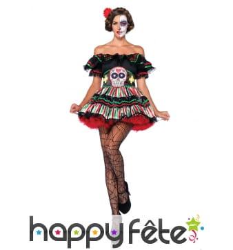 Déguisement robe Dia de los muertos colorée