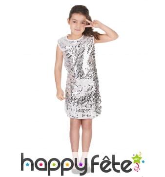 Déguisement robe disco argentée pour enfant