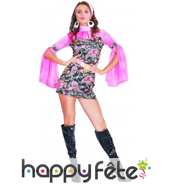 Déguisement robe disco courte, motifs rose