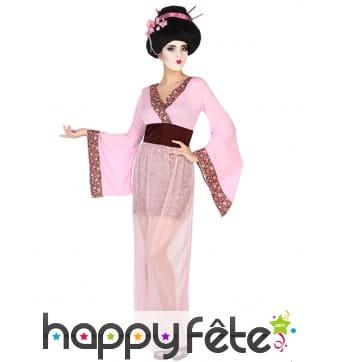 Déguisement rose de geisha pour femme