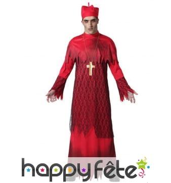 Déguisement rouge de prêtre fantôme pour adulte