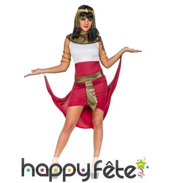 Déguisement robe égyptien blanche rouge