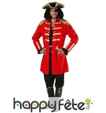 Déguisement rouge élégant de capitaine pirate