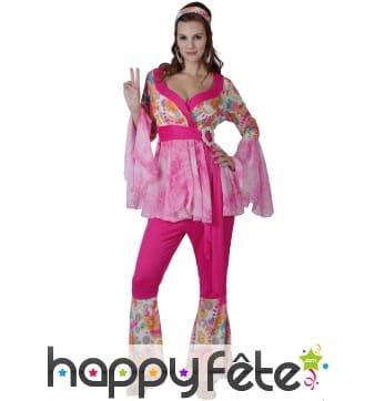 Déguisement rose fleuri de hippie pour femme