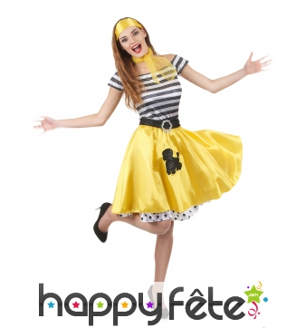 Déguisement robe jaune style années 50