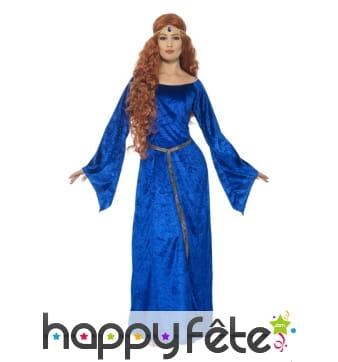 Déguisement robe médiévale bleue grande taille