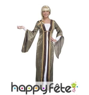 Déguisement robe médiévale verte en velours