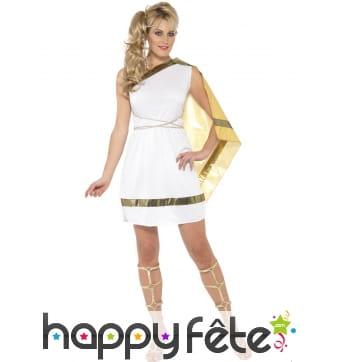 Déguisement robe mi-courte blanche de romaine