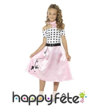 Déguisement robe rock rose années 50 pour enfant