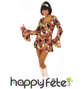 Déguisement robe sexy courte motifs disco colorés
