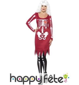 Déguisement robe squelette coeur lumineux